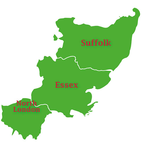 Essex, Suffolk and North London map